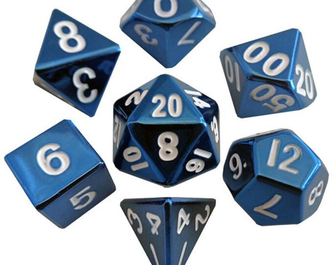 7-Die Set Metal: Blue Painted - MTD012 - Metallic Dice Games
