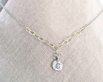Personalized mixed metal gold filled sterling silver C pendant necklace gift, handmade gold silver initial c choker, c letter coin necklace