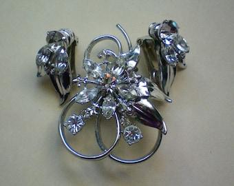 Rhinestone Set of Pendant / Brooch and Clip Earrings - 1599