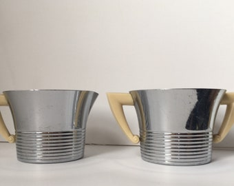 Super Nice 1930's Art Deco Chase Savoy Sugar and Creamer Set with Ribbed Bakelite Handles