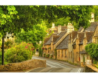 Cotswolds, England, Street Scene, Quaint Village, Gallery-wrapped Fine Art Photograph on Canvas, Metal, Picture, Ready to Hang Wall Art