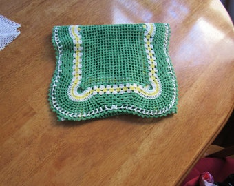 FREE SHIPPING USA Green, White and Yellow Cotton Crocheted Dresser Scarf Table Runner 2300