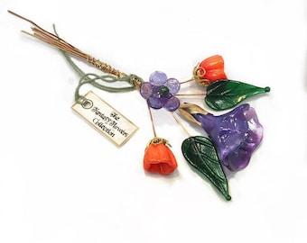 Orange Purple Lampwork Headpin Bouquet. Set of six headpins.
