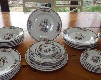Vintage 1937 Syracuse China Dinnerware Dewitt Clinton Tropical Bird Flowers Service 6 & Syracuse china | Etsy