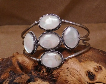 Navajo Made Sterling Silver And Mother Of Pearl Cuff Bracelet