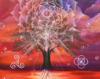 Original Painting Spiritual Landscape, Tree of Life, Yoga, Meditation, Mandala, Mudra