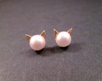 CAT Earrings, White Resin Pearl Earrings, Gold Stud Earrings, FREE Shipping U.S.