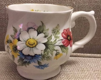 Justlin Fine Bone China Tea Cup From England- Vibrant Flowers M84