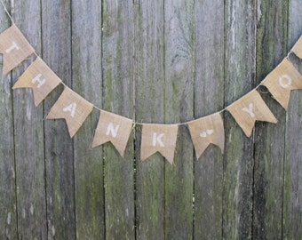 Wedding Bunting. THANK YOU Garland. Wedding Garland. Custom Wedding Bunting. Wedding Thank You Photo Prop. Rustic Wedding Banner.