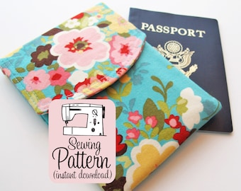 Passport Pouch PDF Sewing Pattern | Sew a two pocket passport wallet pouch travel accessory.
