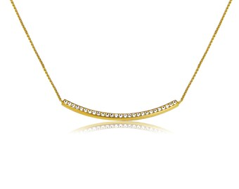 Bar necklace in real gold plated sterling silver with brilliant CZ I am raising the bar with this necklace but not the price