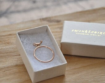 Ring bird 14k rose gold