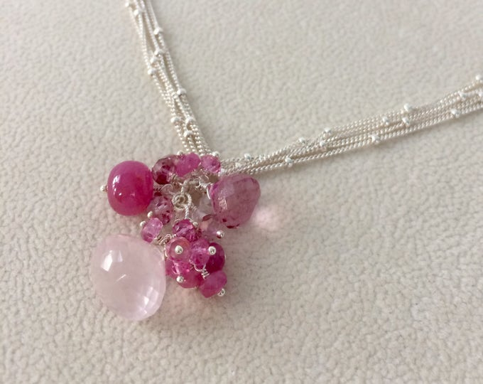 Rose Quartz Gemstone Pendant in Sterling Silver with Pink Sapphire, Mystic Pink Quartz, Mystic Pink Topaz - Pink Gemstones