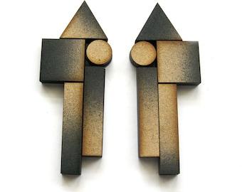 BLOCKING 1044 Statement Earrings - Wood earrings, ombre earrings, architectural, modern jewelry, geometric earrings, laser cut, fade earring