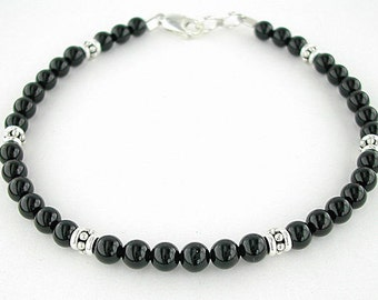 Black Onyx Bracelet with Sterling Silver Accents in Small to Plus Sizes - 7, 8, 9, or 10 inches
