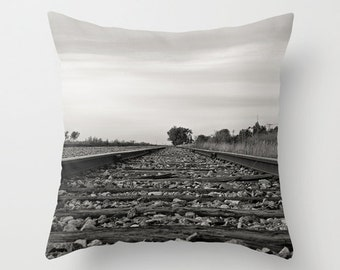 Train Tracks Pillow Cover, Railway White and Grey Throw Cushion Cases, Black and White, Aluminium Grey, Novelty Decoration, Rustic Man Cave