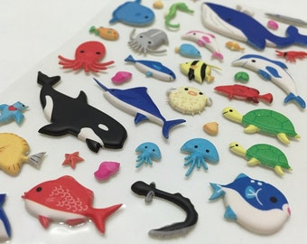 Kawaii Puffy Stickers - Very cute underwater world sea animals