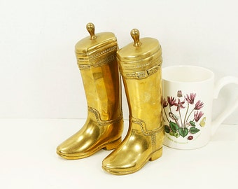 Vintage Solid Brass Riding Boots Bookends or Doorstop. Heavy Weight