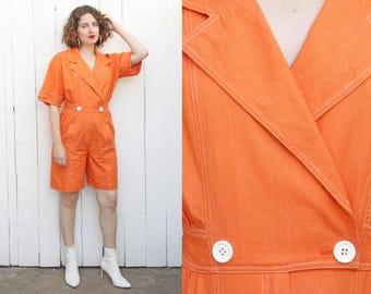 Vintage 80s Jumpsuit   80s Orange Cotton Double Breasted Shorts Jumpsuit   Medium M