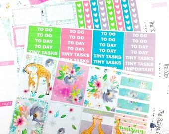 Spring Giraffe Weekly Kit | Planner Stickers, Weekly Kit, Spring Weekly Kit, Vertical Planner Kit, Full Weekly Kit, giraffe weekly kit