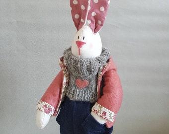 sale, textile rabbit, tilda bunny, Rabbit, Tilda, Easter buny, Rag doll, decor,ready to ship, free shipping