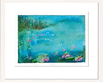 Small painting, miniature painting, tiny art, original painting, drawing, tiny treasure, signed original, blossoms, water, free shipping