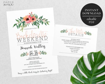 Printable Bachelorette Weekend Invitation | Editable Template | Bachelorette Party Invitation | Floral | Watercolour Flowers | Pink