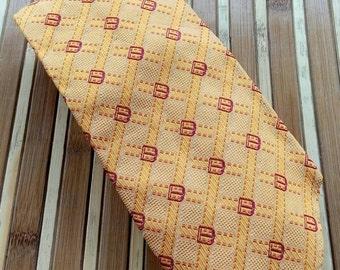 Vtg 100% Silk GUCCI Buckle Motif Orange Necktie Made In Italy