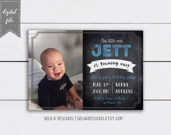 Chalkboard Birthday Invitation, Custom First Birthday Announcement Photo Invite, Customizable
