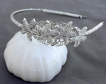 Rhinestone Starfish Bridal Headband Crystal Wedding Headband Rhinestone Bridal Headband Wedding Headpiece HB016LX