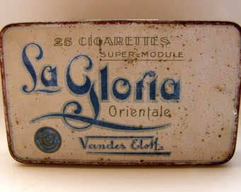 Vintage cigarette tin VANDER ELST La Gloria Numan's Blikfabrieken Amsterdam 1920
