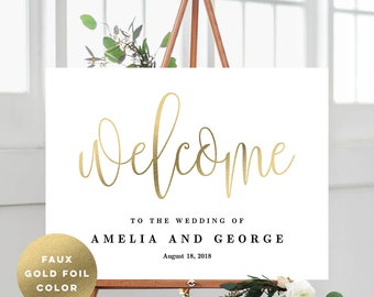 3 Sizes Wedding Welcome Sign Poster - Editable PDF Template Instant Download - Lovely Calligraphy #LCC Faux Gold Foil
