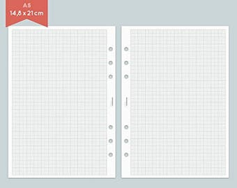 A5 Filofax - 25 sheets of notebook paper graph paper