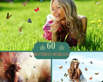60 Photoshop Butterfly Overlays, Photoshop Overlays,  Butterfly Overlay, Texture, Digital Backdrop, Butterflies Overlay, Butterfly PNG