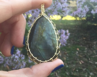Labradorite Gold Crystal Wire Wrapped Necklace Pendant Spirituality
