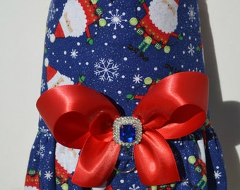 Dog Harness Vest - Glitter Santa Bling Bow Harness - Winter