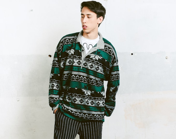 Men 90s Patterned Sweater . Vintage Long Sleeve Mens 90s Polo Sweater Sweatshirt 90s Jumper Everyday Clothing . size Extra Large XL