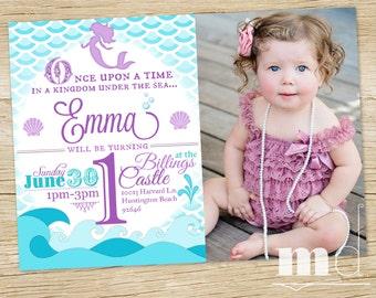 Mermaid Birthday Party Invitation WITH PHOTO, Little Mermaid Birthday Invite, Ariel Mermaid Scales Birthday Invite, Custom Photo PRINTABLE