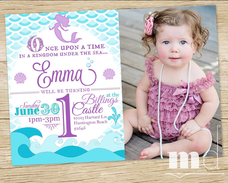 Mermaid Birthday Party Invitation WITH PHOTO Little Mermaid