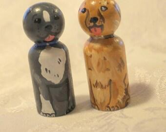 "Dog Peg Dolls Set of Two - Golden Retriever and Bulldog -  Peg Dolls - Small 2 1/4"" Size"