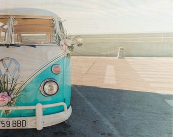 Vintage VW, Fine Art Photography, 'Flower Power' Limited Edition, Image Transfer on Wood Panel by Patrick Lajoie, Formentera, mediterranean