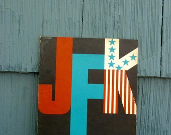 JFK Coloring Book by Kanrom, 1962, President John Fitzgerald Kennedy kids activity book, 60s style