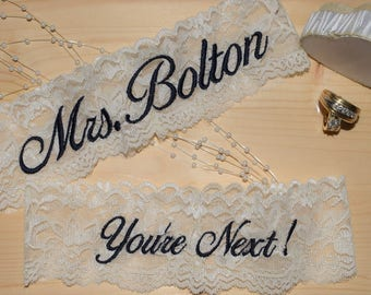 Personalized Wedding Garters, You pick your thread color, Garter For Wedding.  Wedding Garters, DOESN'T INCLUDE DATE.