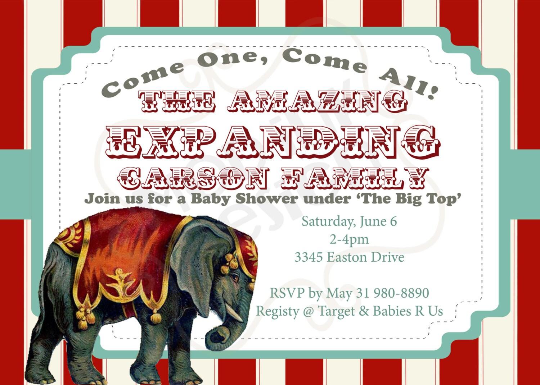 Vintage Circus Invitation Baby Shower or BirthdayParty