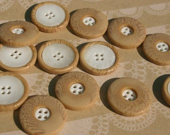 """Wood Buttons With White Plastic Center - Light Wooden Buttons - Sewing Bulk Buttons - 15/16"""" Wide"""