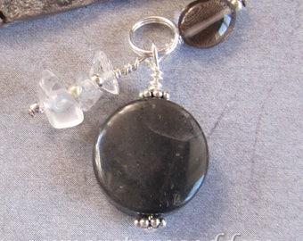 Black Onyx, Quartz, Smokey Quartz Strength Stamina Charm Zipper Pull EHAG