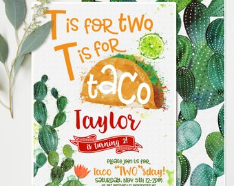 "Taco Twosday (""Two""sday 2 ) Birthday Invitations - Orange and Green Cactus - Second Birthday Party Invitations - Printable Instant Download"