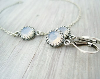Brautschmuck Set Ohrringe Armband antik silber