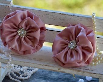 "Satin Ribbon Flowers, 3"" Satin Fabric Flowers, Dusty Rose Satin Flower, Large Satin Pearl Flower, Wholesale Flowers, Satin Flower"