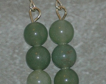 Simple aventurine trio earrings